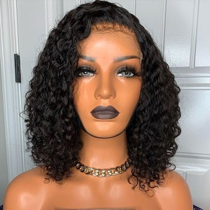Eva Hair 180 Density Pre Plucked Brazilian Human Remy Hair Bleached Knots Gluless Curly Bob 360 Lace Frontal Wig With Baby Hair 【W012】