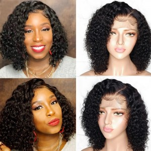 Eva Hair 130 Density 13X6 Short Human Hair Bob Wigs Brazilian Curly Lace Front Wigs Pre Plucked(008)