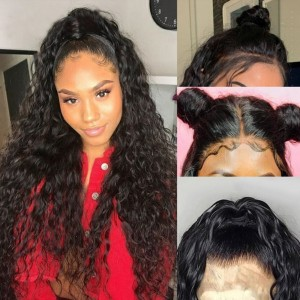 Eva Hair Pre Plucked 180 Density Brazilian Water Wave 360 Lace Frontal Wig Pre Plucked With Baby Hair Bleached Knots 【W089】