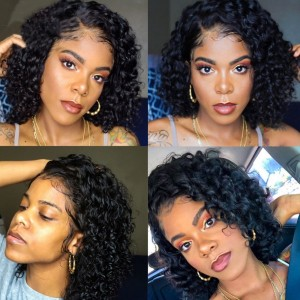 Eva Hair 150 Density 13x6 Short Curly Human Hair Bob Wigs Brazilian Lace Front Wig Pre Plucked【037】