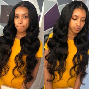 Eva Hair 130 density Pre Plucked Brazilian Body Wave Full Lace Human Hair Wigs With Baby Hair【0041】