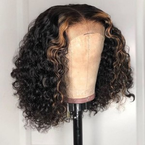 Yonce Wig 150 Density Ombre Color 13x6 Brazilian Lace Front Human Hair Wigs Curly Bob Wig Pre Plucked Natural Hairline With Baby Hair Eva【T039】