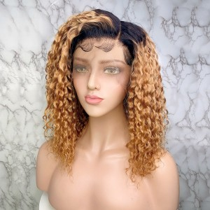 Eva Hair 150 Density Ombre Color 1BT8# 13x6 Brazilian Curly Lace Front Human Hair Wigs Pre Plucked With Baby Hair (T18)