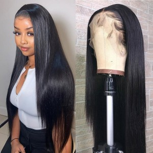Eva Hair Full Lace Human Hair Wig Straight Hair Bleached Knots Pre Plucked  Brazilian Remy Hair With Baby Hair 【Y031】