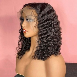 Eva Hair 150 Density Brazilian Deep Curly Bob 13X6 Lace Front Wigs Short Human Hair Bob Wigs【W211】