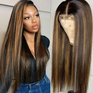 Eva Hair Highlight T27# 150 Density Pre Plucked 13X6 Brazilian Straight Lace Front Human Hair Wigs With Baby Hair Bleached Knots 【T016】
