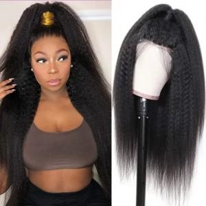 Eva Hair 2019 New 150 Density 370 Lace Wigs Brazilian Kinky Straight Human Hair Wigs【W155】