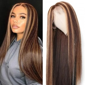 Eva Hair 150 Density Ombre Color 13x6 Brazilian Bleached Knots Straight Lace Front Human Hair Wigs Pre Plucked With Baby Hair 【T023】