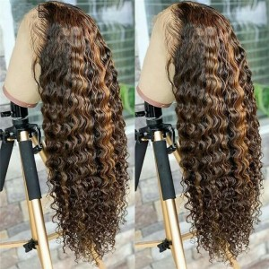 150 Density Ombre Color 13x6 Brazilian Lace Front Human Hair WigsPre Plucked Natural Hairline With Baby Hair Eva【T074】