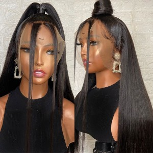 Eva Hair Full Lace Human Hair Wig Straight Hair Bleached Knots Pre Plucked  Brazilian Remy Hair With Baby Hair 【Y035】