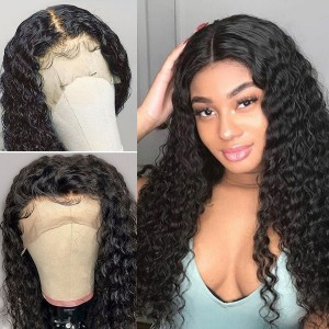 Eva Hair 130 Density 13x4 Water Wave Lace Front Wigs Brazilian Remy Hair Pre Plucked Hairline【029】