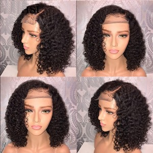Eva Hair 180 Density Pre Plucked Brazilian Human Remy Hair Bleached Knots Curly 360 Lace Frontal Wig With Baby Hair 【W078】