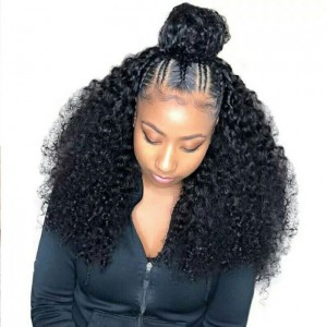 Eva Hair 150 Density Brazilian Pre Plucked 370 Fake Scalp Wig Curly Human Hair Wigs Bleached Knots With Baby Hair【W208】