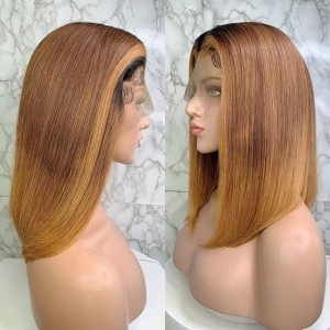 Eva Hair 150 Density Ombre Color 1BT6#T27# 13x6 Brazilian Straight Lace Front Human Hair Wigs Pre Plucked With Baby Hair 【T017】