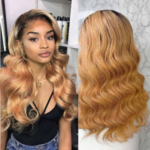 Eva Hair 150 Density Ombre Color 1BT27# 13x6 Brazilian Wave Lace Front Human Hair Wigs Pre Plucked Natural Hairline With Baby Hair 【T022】