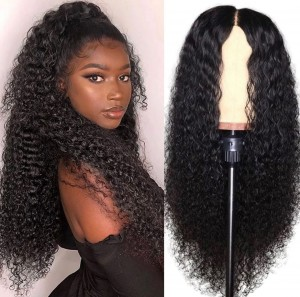 Eva Hair Pre Plucked 180 Density Brazilian Curly Remy Hair Bleached Knots 360 Lace Frontal Wig With Baby Hair【W085】
