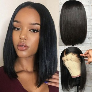 Eva Hair 150 Density Straight Brazilian Short Full Lace Human Hair Wigs Pre Plucked  (036)