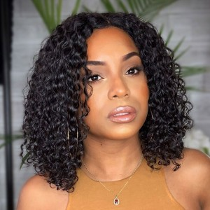 Eva Hair 150 Density 13x6 Short Lace Front Human Hair Bob Wigs Curly Brazilian Remy Hair (033)