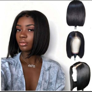 Eva Hair 13x6 Lace Front Human Hair Wigs Brazilian Remy Hair Straight Bob 150% density Pre-Plucked Hairline Bleached Knots With Baby Hair 【Y027】
