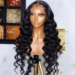 Eva Hair Pre Plucked 360 Lace Frontal Human Hair Wig Brazilian Curly Hair 180% Density With Baby Hair Bleached Knots【W192】