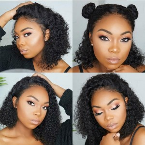 Eva Hair Pre Plucked Brazilian Short Curly Human Hair Full Lace Wigs 130 Density【W120】