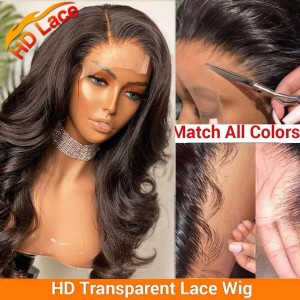 4*4 & 5*5 HD Lace Closure Wig Pre Plucked Brazilian Body Wave Hair Wig With Baby Hair Bleached Knots Eva Hair【H027】