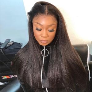Eva Hair Kinky Straight Pre Plucked Glueless 150 Density Brazilian Remy Hair 13x6 Lace Front Wig 【W025】