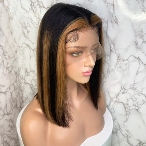 Eva Hair Ombre Color T27# 150 Density Short Pre Plucked 13X6 Brazilian Straight Bob Lace Front Human Hair Wigs With Baby Hair Bleached Knots 【T016】