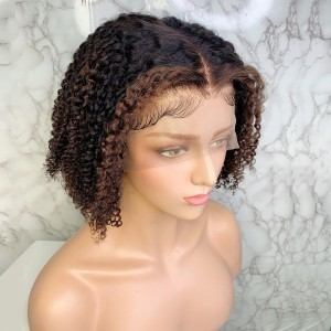 Eva Hair Ombre T4# 150 Density Short 13X6 Brazilian Pre Plucked Curly Lace Front Human Hair Wigs With Baby Hair【T011】