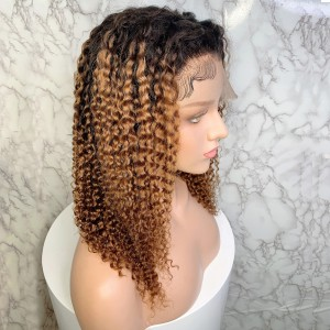 Eva Hair 1BT8# Ombre Color 150 Density Short 13X6 Pre Plucked Brazilian Curly Lace Front Human Hair Wigs With Baby Hair Bleached Knots 【T013】