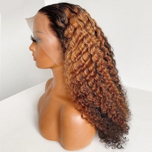 Eva Hair Yonce Wig 150 Density Ombre Color 13x6 Brazilian Curly Lace Front Human Hair Wigs Pre Plucked Natural Hairline With Baby Hair 【T032】
