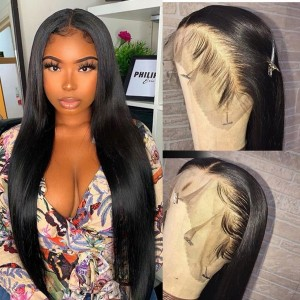 26-34 Inches Eva Hair 150 Density 13x6 Brazilian Pre Plucked Straight Lace Front Wigs Bleached Knots With Baby Hair 【H002】
