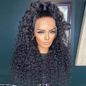 Eva Hair Pre Plucked 360 Lace Frontal Human Hair Wig Brazilian Curly Hair 180% Density With Baby Hair Bleached Knots【W028】