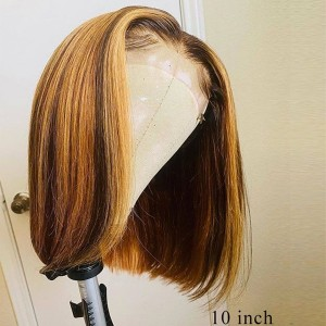 Eva Hair 150 Density Highlight 4#27# 13x6 Brazilian Bleached Knots Straight Bob Lace Front Human Hair Wigs Pre Plucked With Baby Hair 【T047】