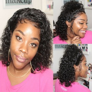 Eva Hair 150 Density Brazilian Short Human Hair Bob Wig Curly Full Lace Wigs【W122】