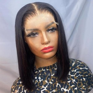 4*4 & 5*5 HD Lace Closure Wig Pre Plucked Brazilian Straight Hair Wig With Baby Hair Bleached Knots Eva Hair【H028】