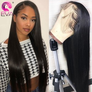 Eva Hair Pre Plucked 180 Density Straight Hair 360 Lace Frontal Wig Brazilian Remy Hair With Baby Hair Bleached Knots【W083】