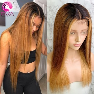 Eva Hair 150 Density Ombre Color 1BT6#T27# 13x6 Brazilian Straight Bleached Knots Lace Front Human Hair Wigs Pre Plucked With Baby Hair 【T020】
