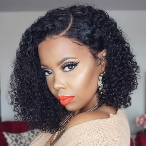 Eva Hair Brazilian 360 Lace Frontal Wigs 180% Density Pre-Plucked Hairline Bob Curly Hair【Y089】