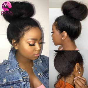 Eva Hair 150 Density Brazilian Kinky Straight Silk Base Lace Front Wig Pre Plucked【W101】