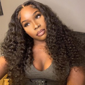 Eva Deep Wave Glueless Sexy Pre Plucked Brazilian Remy Hair Bleached Knots 13x6  Lace Frontal Wig With Baby Hair Bleached Knots【W316】