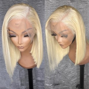 Eva Hair 13x6 Lace Front Wig Pre Plucked Brazilian Remy Hair 613# Silky Straight Short Bob Wig Glueless【W038】