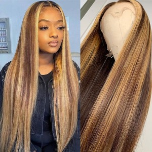 Eva Ash Blonde150 Density 4# 27# 13x6 Brazilian Bleached Knots Straight Lace Front Human Hair Wigs Pre Plucked With Baby Hair 【T023】