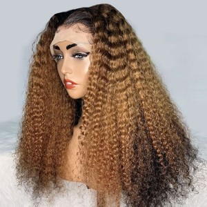 Eva Hair Yonce Wig 150 Density Ombre Color 13x6 Brazilian Curly Lace Front Human Hair Wigs Pre Plucked Natural Hairline With Baby Hair 【T036】