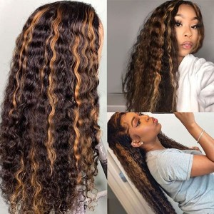 Yonce Wig 150 Density Ombre Color 13x6 Brazilian Lace Front Human Hair Wigs Pre Plucked Natural Hairline With Baby Hair Eva【T038】