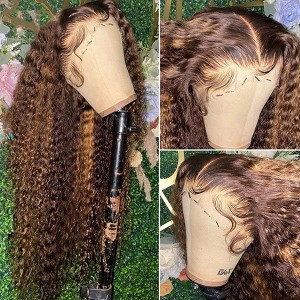 Eva Highlight Wet Wave 13x6 Brazilian Lace Front Human Hair Wigs Pre Plucked Natural Hairline With Baby Hair 【T065】