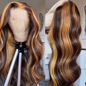 Loose Wave 150 Density Ombre Color 13x6 Brazilian Lace Front Human Hair Wigs Pre Plucked Natural Hairline With Baby Hair Eva【T075】