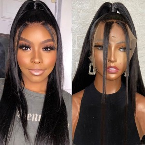 Eva Hair 13x6 Lace Front Human Hair Wigs Pre-Plucked Brazilian Remy Hair Bleached Knots 150% Density Straight With Baby Hair【W024】