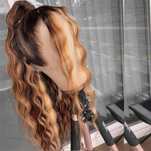 Eva Hair 150 Density Ombre Color 4# 27# 13x6 Brazilian Bleached Knots Straight Lace Front Human Hair Wigs Pre Plucked With Baby Hair 【T027】