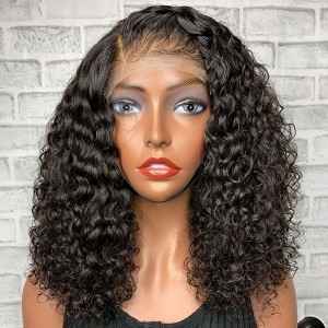 Eva Hair Pre Plucked 360 Lace Frontal Human Hair Wig Brazilian Curly Bob Hair 180% Density With Baby Hair Bleached Knots【W030】
